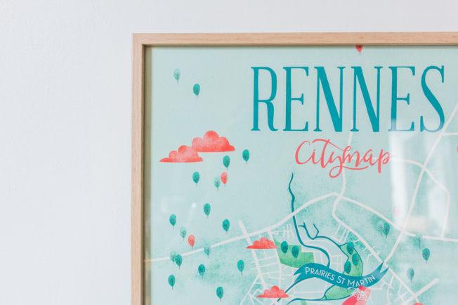 Carte illustrée Rennes A3